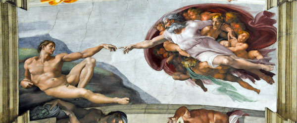 The painted ceiling of the Sistine Chapel, which is Michelangelo's most famous work of art. Photo credit Dennis CC SA.