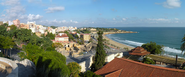The beach at Tarragona, which is a city about 100 kilometers south of Barcelona.
