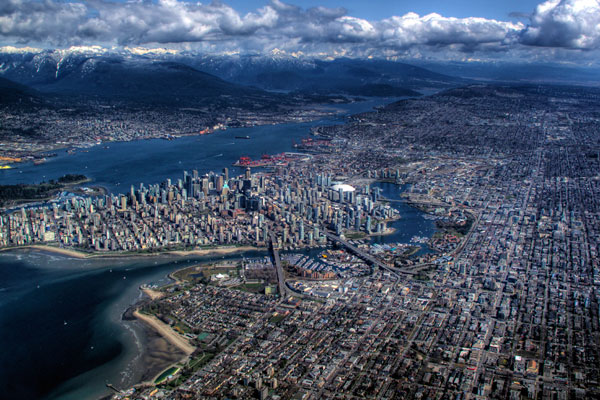 An aerial shot of Vancouver on an incredibly clear day.