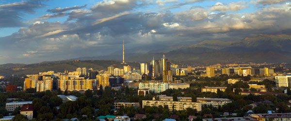 A view of Almaty – Kazakhstan's largest city – in the late afternoon.