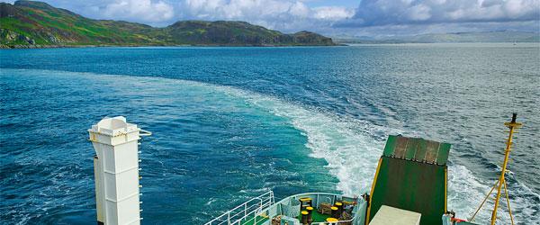 A CalMac ferry off the coast of the Isle of Jura.