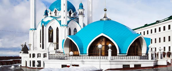 The Qolşärif Mosque is located inside the Kazan Kremlin and is the largest mosque in Europe outside of Istanbul.