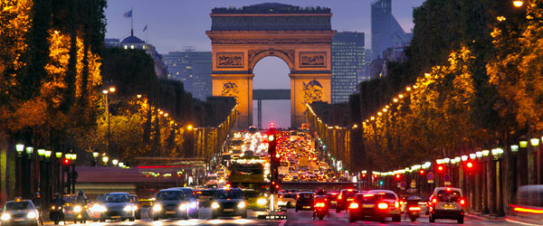 The world-famous Arc de Triomphe on the Champs-Élysées in Paris.