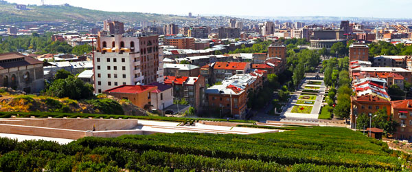 The view of Armenia from the terraced levels of the Cafesjian Center for the Arts.