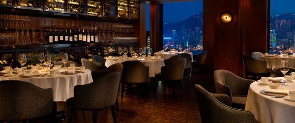 The dining room of Above & Beyond offers patrons fantastic views of the Hong Kong skyline.