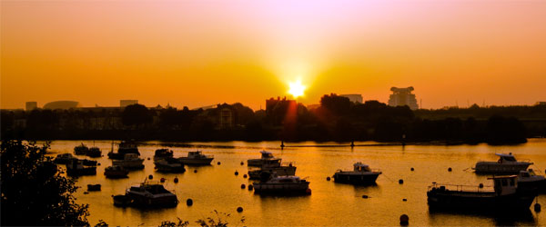 A sunrise over the boats of Cardiff Bay.