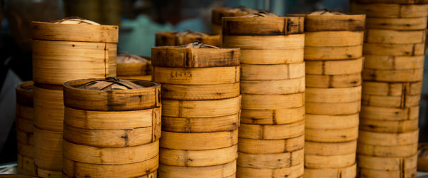 Dim sum is still steamed and served in the traditional wooden baskets.