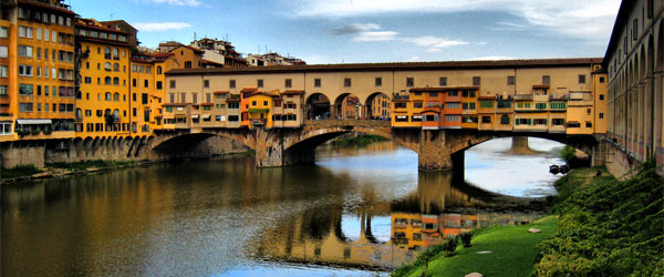 Ponte Vecchio has a unique design amongst Florentine bridges, as it's the only one that maintained its classical architecture.