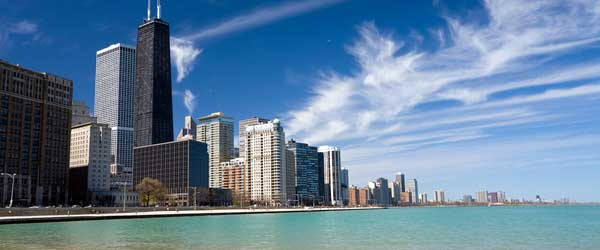 The Chicago skyline stretching along the shores of Lake Michigan.