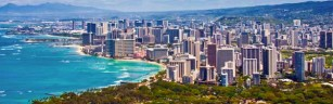 The view of Honolulu from the peak of Diamond Head.