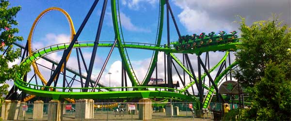 The Green Lantern roller coaster at Six Flags Great Adventure. Photo credit Sarah Ackerman.