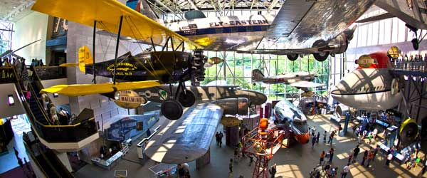 Inside the Smithsonian's National Air and Space Museum in Washington DC.