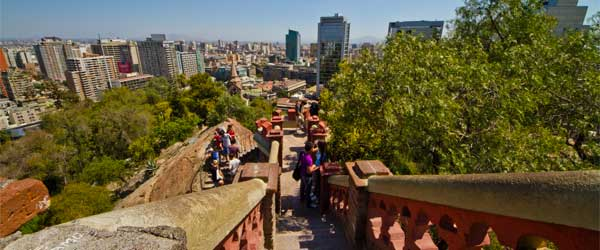 Tourists climbing Santa Lucia Hill to enjoy its views over Santiago. Photo by Rodrigo Pizarro via Flickr.