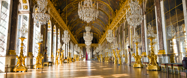 The opulent Hall of Mirrors inside the Palace of Versailles.