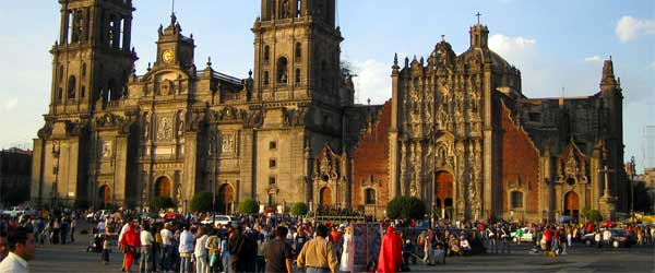 The Metropolitan Cathedral on the Zócalo square in Mexico City. Photo by Adrian Sampson via Flickr.