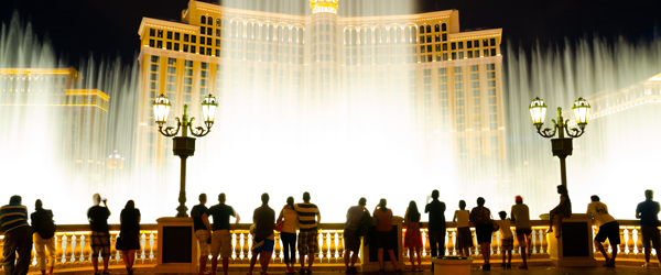 Tourists checking out the dancing fountains in front of Las Vegas' Bellagio.