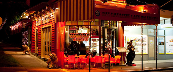 The brash and colorful Circus Circus Cafe in Mount Eden.