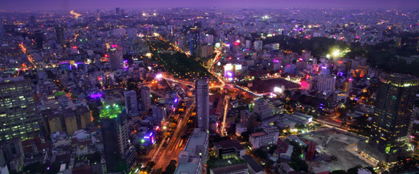 The vibrant Ho Chi Minh City as seen at night.