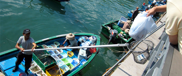 A customer receives his order and places the money in the net at the Sai Kung Seafood Market. Photo credit Connie.
