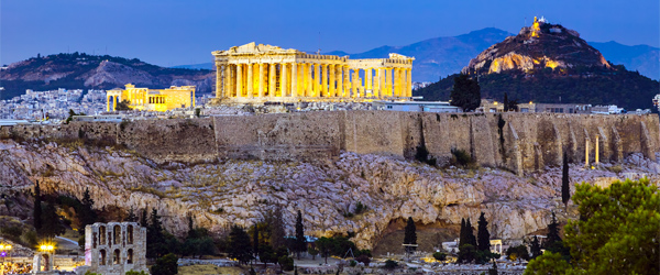 The ancient Acropolis is at the center of Athens.