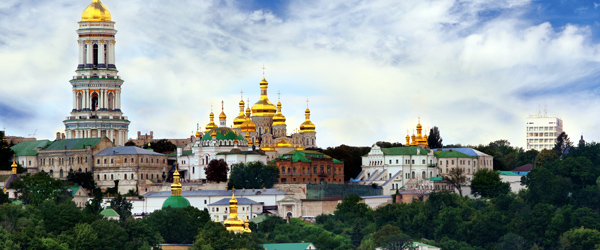 A look at golden domes of the Kiev Pechersk Lavra Monastery.