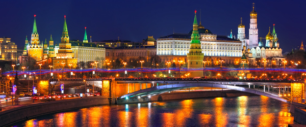The Kremlin in Moscow is at the center of Russia's political power.