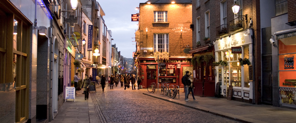 The famous nightlife district of Temple Bar in Dublin.