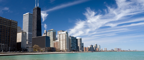 The Chicago skyline as seen from the shores of Lake Michigan.