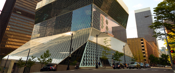 A look at the stunning architecture of the Seattle Central Library. Photo by andrewasmith/Flickr.
