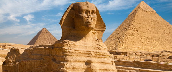A look at the Sphinx and the pyramids at Giza.