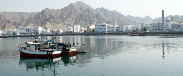 The harbor of Muscat, the capital of Oman.