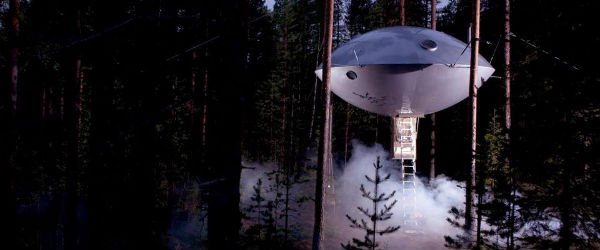 Ever wanted to stay in a UFO inside a forest? Well, Treehotel can make that happen.
