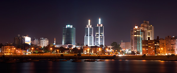 The nighttime skyline of Montevideo, the capital of Uruguay.