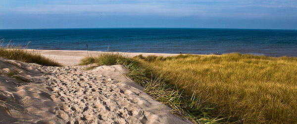 A sandy, remote beach on Sylt in Germany.