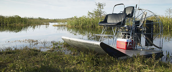 An airboat in the Florida Everglades that can be used for swamp tours and to see alligators.