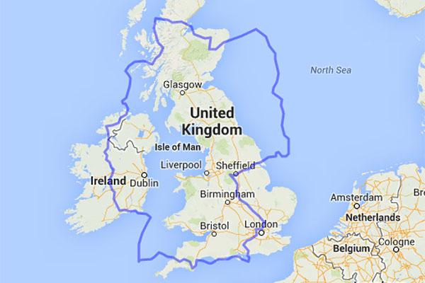 Comparing the sizes of Germany and the United Kingdom.