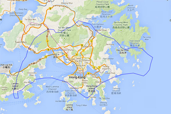 Comparing the sizes of Singapore and Hong Kong.
