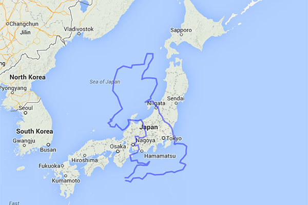 Comparing the sizes of Japan and the United Kingdom.
