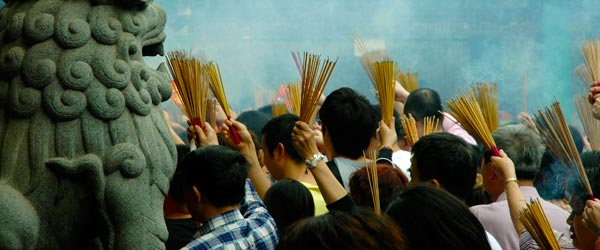 Worshipers at the Wong Tai Sin Temple in Hong Kong.