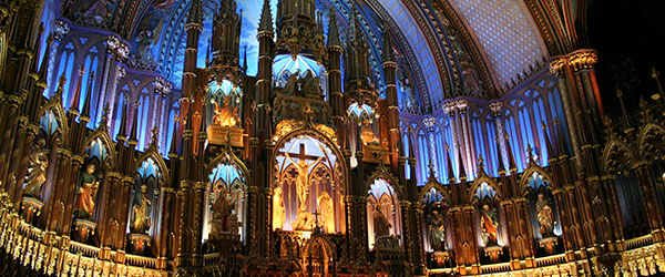 Inside Montreal's Notre Dame Cathedral, which is a replica of the Parisian one.